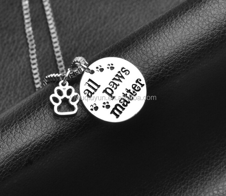 Cat Dog Lover Pet Paw Print Hollow letter All Paws Matter Word Necklace