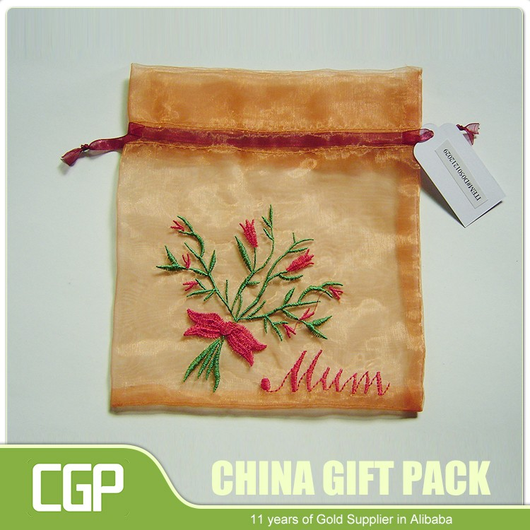 China manufacture unique colorful wedding candy favor organza bag with logo