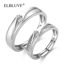 ELBLUVF 925 Sterling Silver Zircon Jewelry Womens Couples Lovers Diamond Engagement Wedding Ring