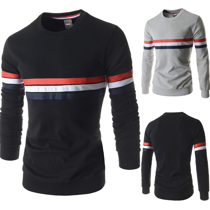 Free Shipping Lasted Fashion <strong>O</strong>-neck Striped Shirt Long Sleeve Shirt Slim Fit Casual T-Shirt for Men M-2XL