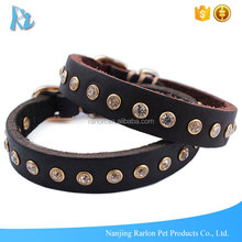 New Design Western Style Crystal Diamante Black Leather Dog Collar