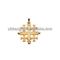 14k Yellow Gold Jerusalem Cross Pendant