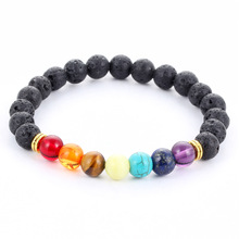 Shiny Rainbow Colorful Agate Black Lava Stones Mixed Natural Stone Beads Adjustable Bracelet For Men And Women Band Jewelry