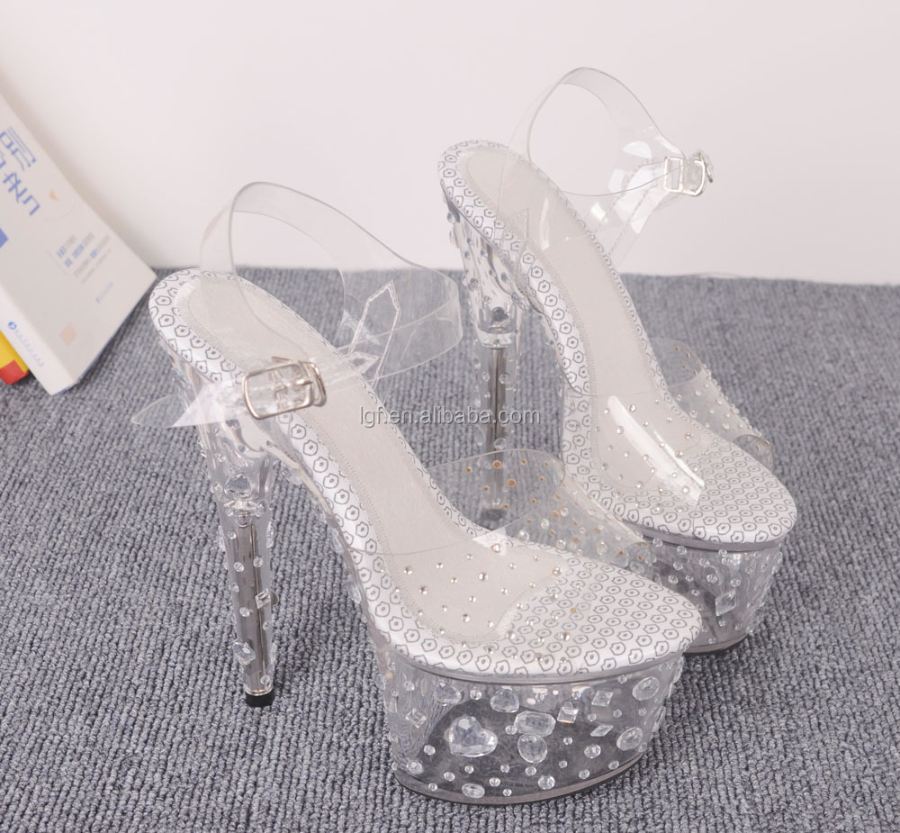 Elegant Rhinestone Bridal High Heel Shoes Pointed Toe Ankle Strap Women Pumps Crystal Wedding Shoes
