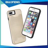 Beautiful slim armor plate tpu pc case smartphone for iphone 7/7 plus mobile phone case free sample with business card holder