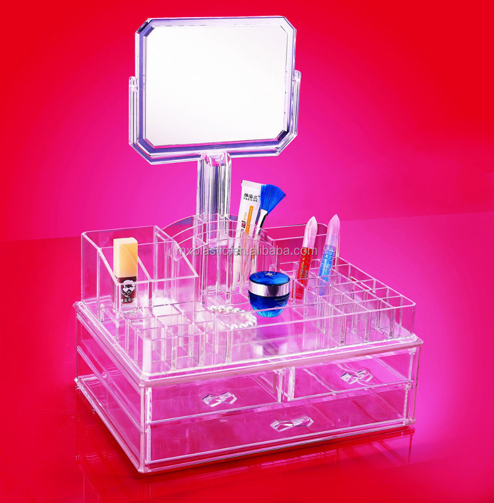 high quatity hot sale cosmetic and accessory organizer with mirror