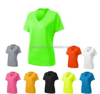 OEM Wholesale Bulk LADIES Moisture WICKING Fabric, ULTRA-FINE MESH, V NECK T-SHIRT, YOGA GYM Dry Fit T Shirts