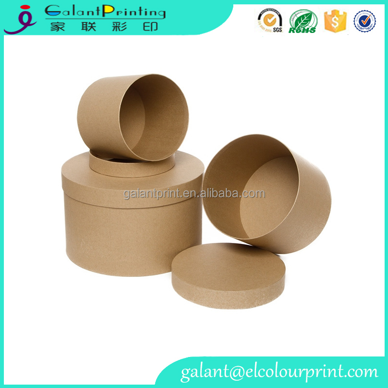 Kraft Paper Food Containers round fast food take away boxes with lid