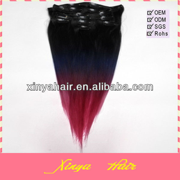 Grade three tone color human hair black blue red ombre hair extension clip in
