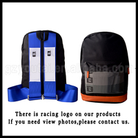 Racing Harness Backpack JDM Racing Backpack Bag Brow Bottom With Blue Racing Harness Shoulder Straps Zipper Pockets W