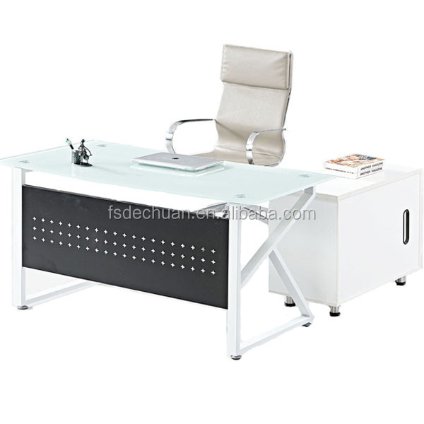 China New Office Furniture Prices Modern Glass Top Office Table Design