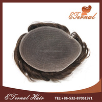 Indian human hair men wig lace with pu human hair toupee 7*9