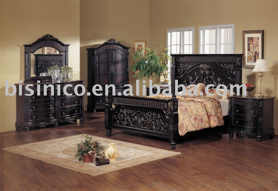 Classical Wooden Hand Carving Bedroom FurnitureBlack ColorKing