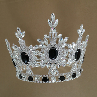 Hair Accessories Fashion Jewelry Design Shiny Crystal Black Stone Crown & Tiaras Custom Full Round Big Beaty Miss Pageant Crowns