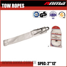 White 2''*12' Heavy duty stretch Dyneema elastic car TOW ROPE with hook AM030-L-C17