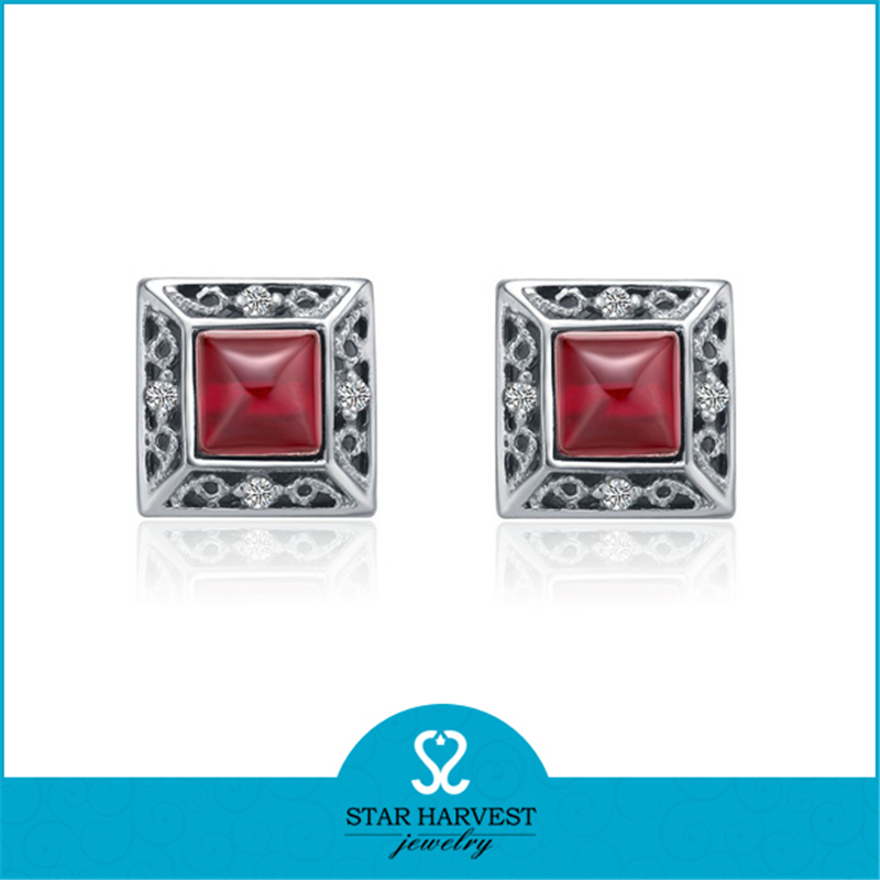 925 Thailand Single Stone Silver Stud Earring Sets