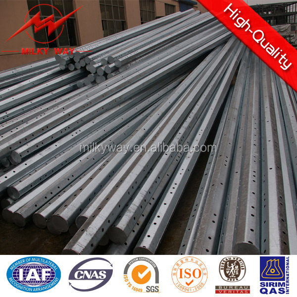 132KV utility electrical poles galvanized c channel manufature for transmission power line