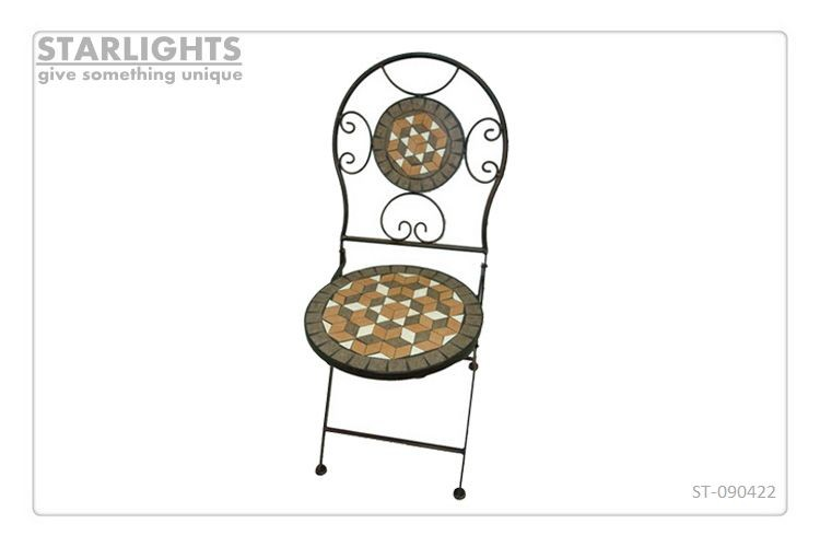 Hot sale outdoor ceramic mosaic tile pattern round table and chair set