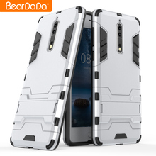 Anti shock kickstand mobile phone back cover case for nokia 8,for nokia 8 case tpu pc