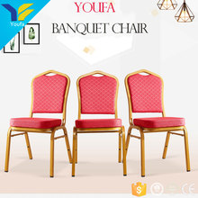 High precision welding classic design red color iron metal luxury wedding hotel dining banquet chair