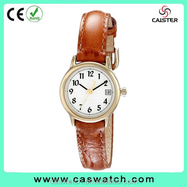 High quality classic lady watch, small size Arabic numerals women watch, Japan movement genuine leather watch