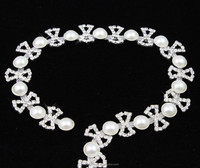 Beautiful Ivory and White Pearl DIY Crafts Rhinestone Trimmings Bridal Chains R2493Y