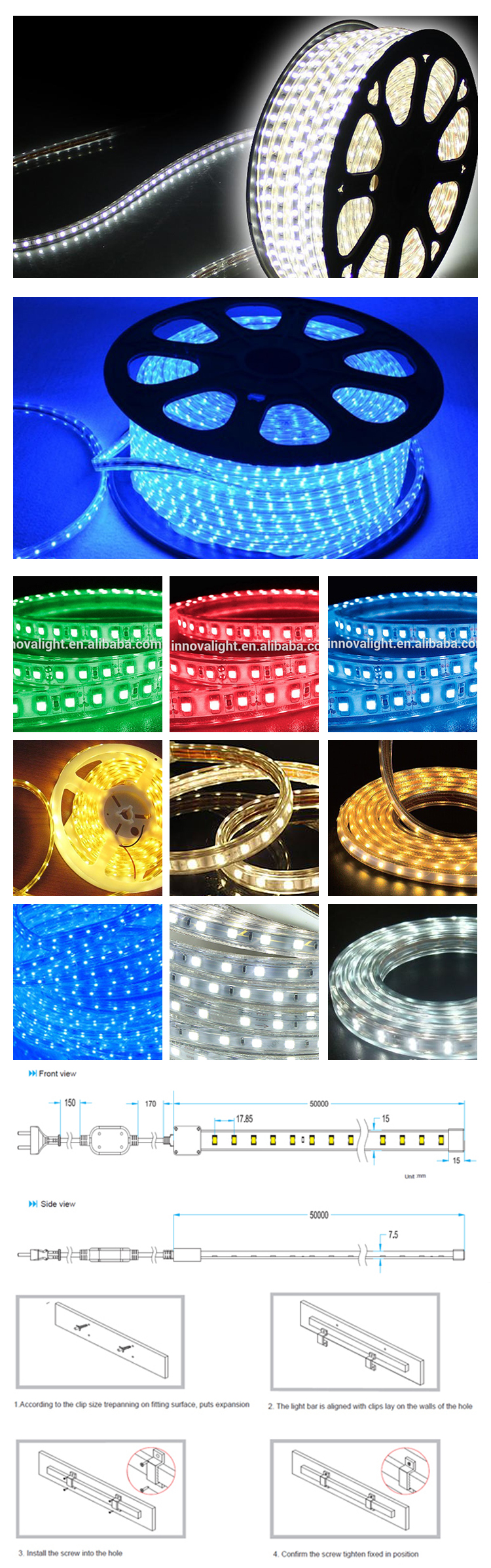 INNOVALIGTH LED STRIP 5050 RGB FLEXIBLE LED STRIP LIGHTS 220V