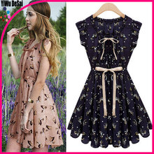 The new fashion women's clothing Sleeveless fawn printed dress