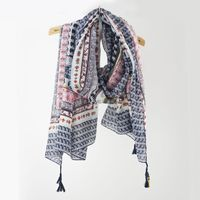 High quality fashion brand 100% polyester printed scarf with Tassels 180*100cm neck designs for ladies suit