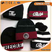 Custom Embroidery logo and Leather Patch Knitted Hat Acrylic Knit beanie