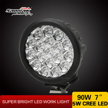 "Round IP68 waterproof 7"" 90W CREE led spot light for Automobiles & motorcycles"