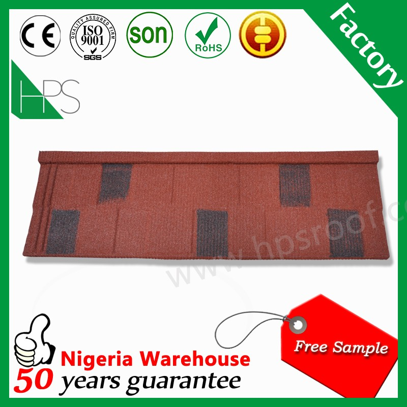 Patterned flat metal roofing shingle models stone coated roof tile