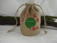 Wholesale Cheap Jute Yarn Wine Package Drawstring Bags