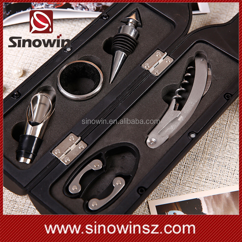 5-Piece Wine Bottle Tools Bottle Shaped Carry Case Wine Opener Accessory Set
