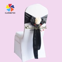 Wholesale Fancy Satin Chair Sash with Champagne Flower, Wedding Satin Flower Chair Bow for Sale