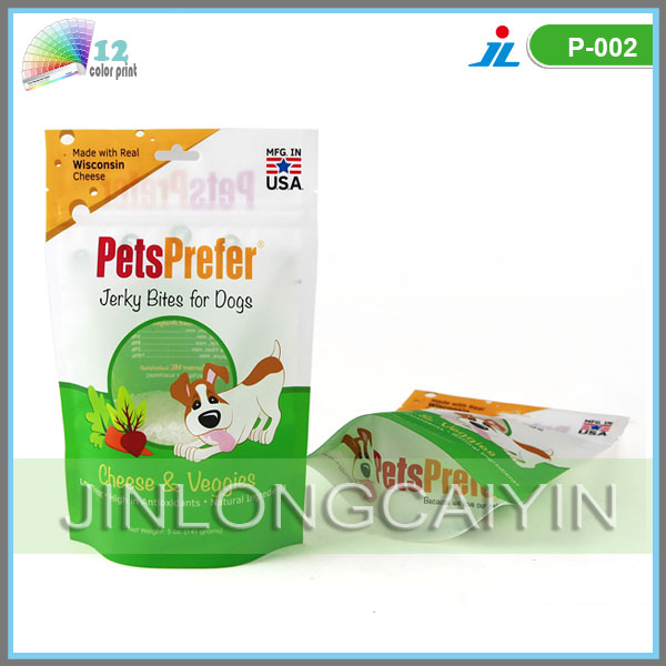 plastic dog food packaging bags with zipper top and euro hole