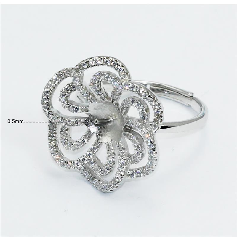Beadsnice ID30623 925 silver base flower adjustable US ring size 7 to 9 fit 6.5mm round gemstone sold by PC couple rings