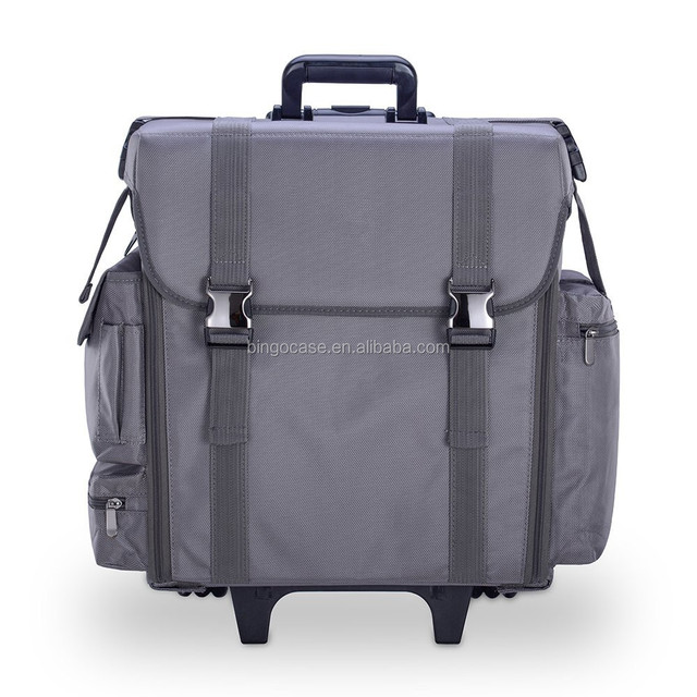 Professional Beauty Trolley Makeup Artist Case, Soft Cosmetic Case with Trolley and Storage Drawers, Side Compartments and Brush