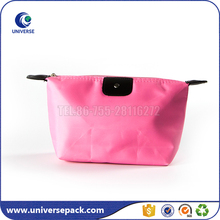 Wholesale portable nylon folding travel cosmetic bag with zipper top
