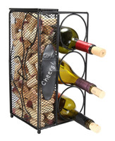 Modern design excellent quality metal red wine,Chalkboard Write A Note, Wine Corks Saving Cage with 3 Wine Bottles Storage Rack