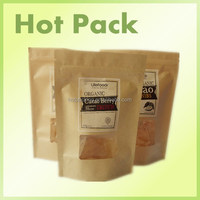 kraft paper bag for dried noodle food / three side seal plain paper bag with ziplock