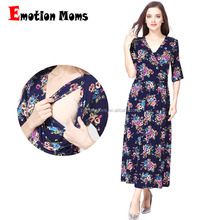 Emotion Moms Wholesale Half sleeves Jersey Cotton Floral Maternity Clothes Breastfeeding Maxi Dress