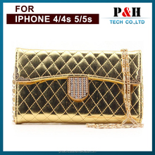 Luxury flip leather bag for iphone 5s wallet case with card slots & strap, Alibaba Express