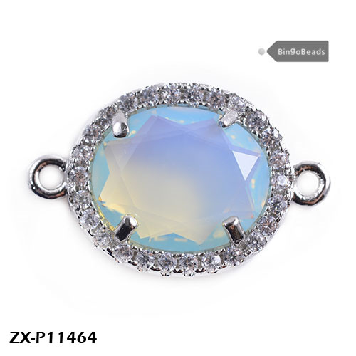 Gemstone Connectors,Bezel Connectors - Sterling <strong>Silver</strong> - Dyed Ruby - Oval Shape Links ZX-P11464