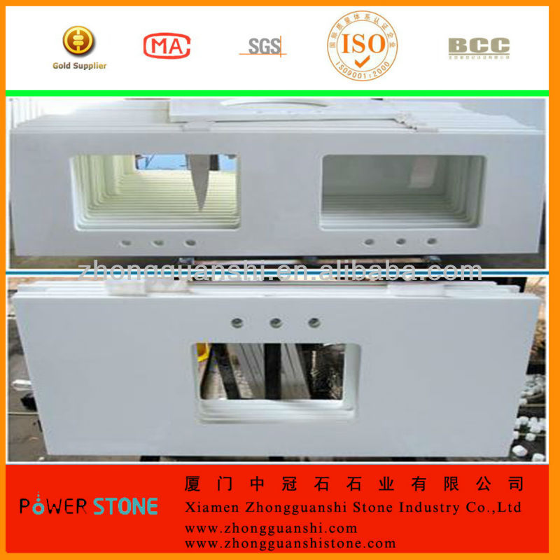 Artificial Nano Crystallized Marmoglass Stone Countertop with under mount sink cutout