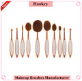 2017 New arrival synthetic hair rose gold handle 10pcs toothbrush makeup set