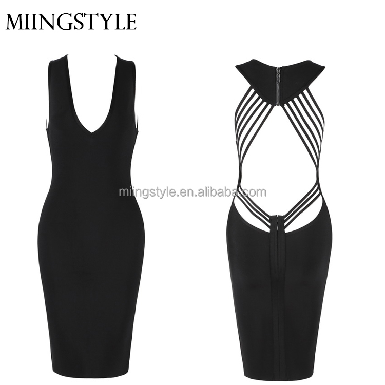 deep v neck designer one piece paty dresses , sexy bodycon woman bandage evening dress wholesale