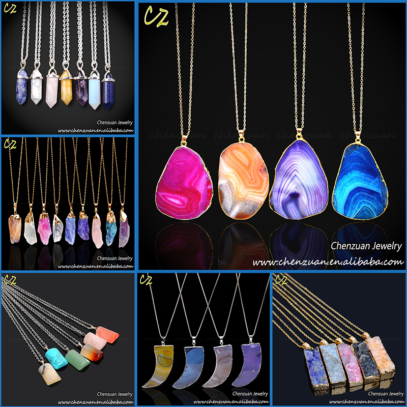 High quality China handmade real stone necklaces jewelry druzy stone necklace