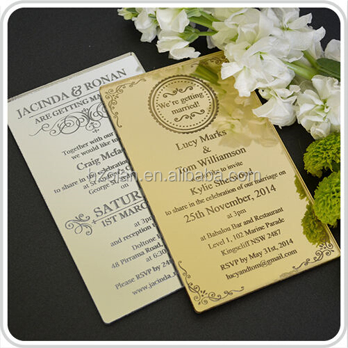 2015 new acrylic wedding invitation sample with guest name