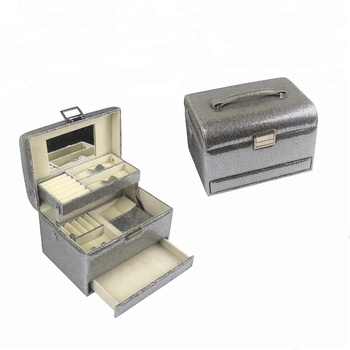 Customized multilayer mirror desktop storage jewelry box with drawers